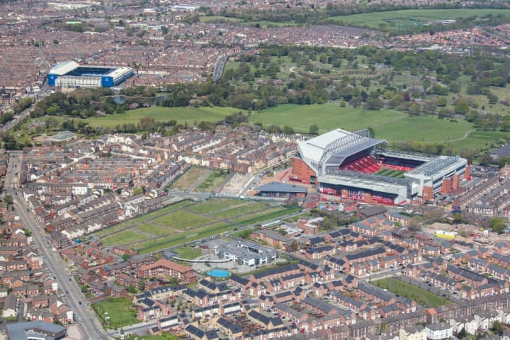 The iconic shot of Stanley Park separating the two Merseyside teams