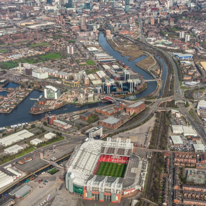 The iconic Old Trafford, home to Manchester United